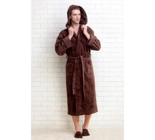 Махровый халат с капюшоном STRONG SPORT, тапочки в подарок (PM 921).