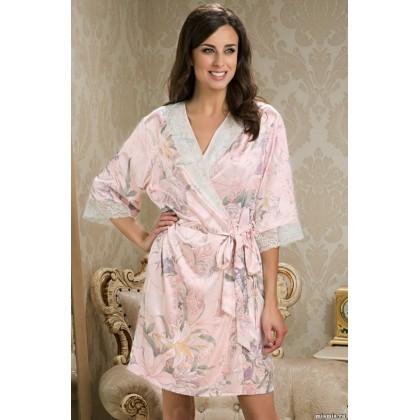 Короткий халат–кимоно из натурального шелка EDEM (EMM 5953)