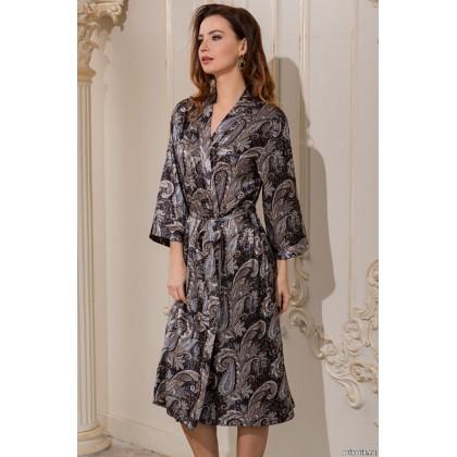 Длинный классический халат–кимоно из натурального шелка Donatella (3129)