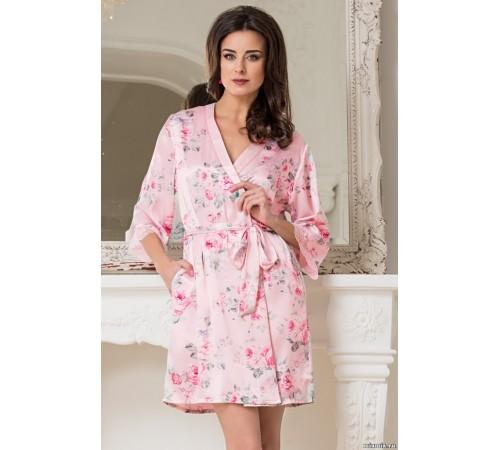 4f5aa8c5802ec Шелковый халат женский укороченный Rosalinda (EMM 3023) купить по ...