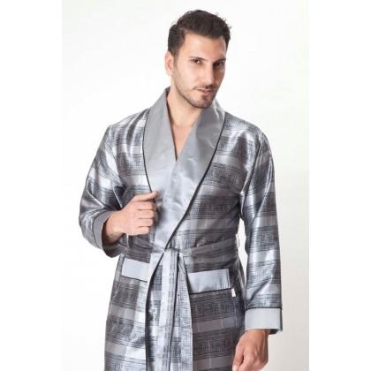 Мужской шелковый халат Steel gray (8015)