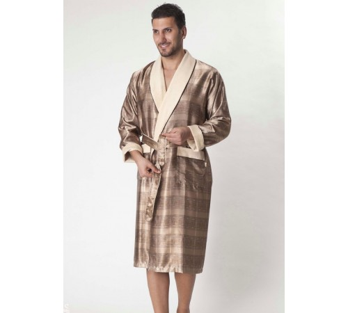 Мужской шелковый халат Steel gold (8015)