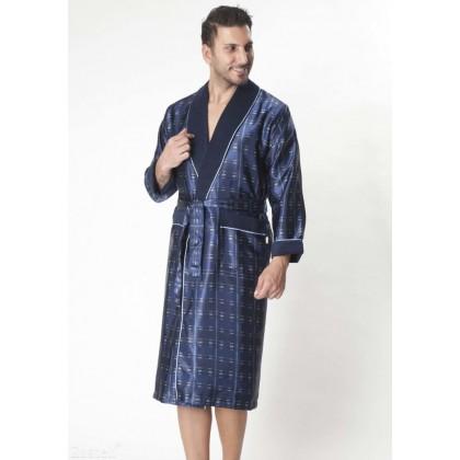 Мужской шелковый халат Steel blue (8015)