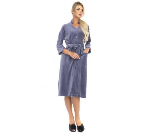 Велюровый халат на пуговицах Universel (PM France 805)