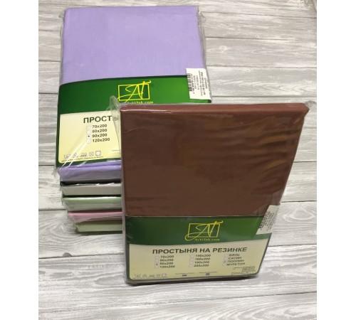 Простыня махровая на резинке однотонная поплин 90х200 шоколад