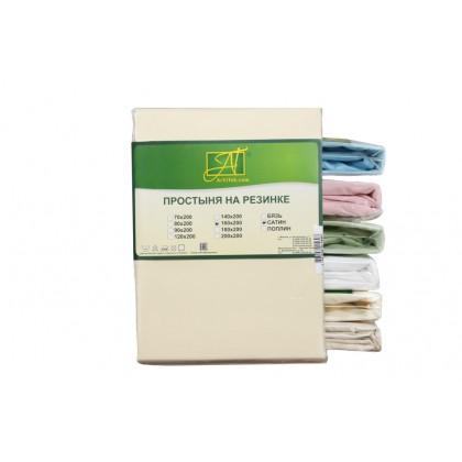 Простыня на резинке сатин однотонная 90х200 кремовая