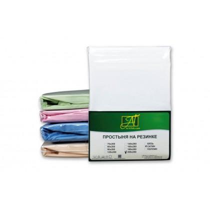 Простыня на резинке сатин однотонная 90х200 белая