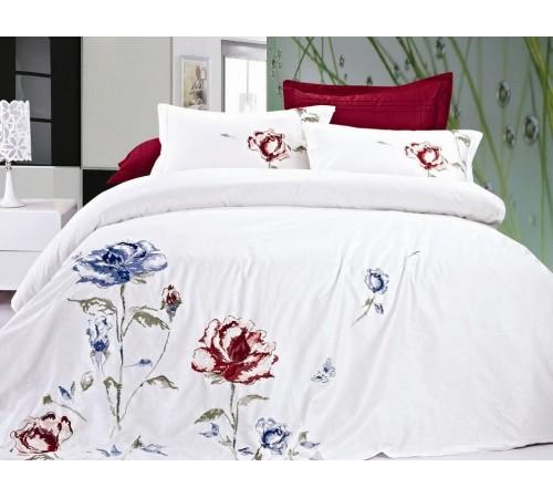 Постельное белье Хлопок сатин с вышивкой ES-10 Фамилье 1.5 спальное