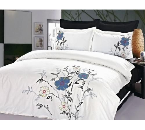 Постельное белье Хлопок сатин с вышивкой ES-14 Фамилье 1.5 спальное