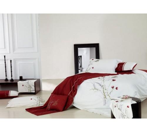 Постельное белье Хлопок сатин с вышивкой ES-06 Фамилье 1.5 спальное