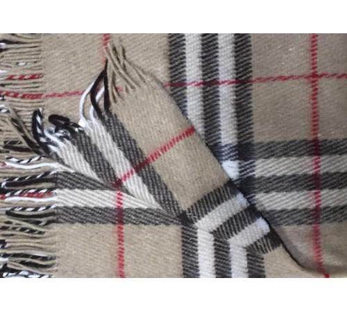 Плед Vladi 11-беж/кор/бел/красн новозеландская шерсть 140х200