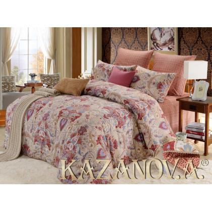 """Постельное белье """"KAZANOV.A"""" сатин Кассандра ( коралл) 1.5 спальное"""
