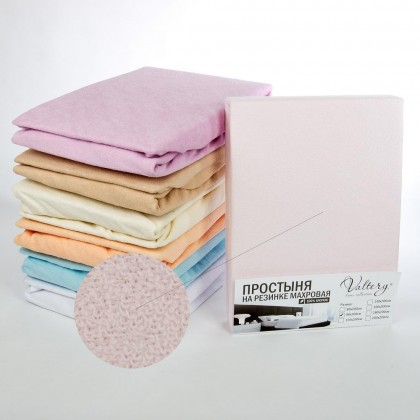 Простынь на резинке махровая Вальтери 160х200 розовая