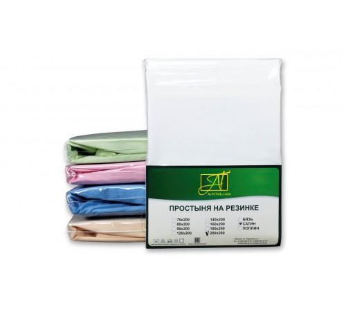 Простыня на резинке сатин 200х200 белая