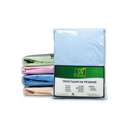 Простыня на резинке поплин 140х200 голубая