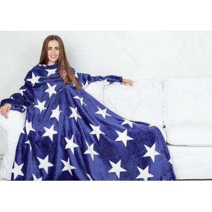 Плед с рукавами Sleepy Luxury темно-синий со звездами